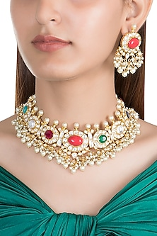 Gold Finish Multi Colored Stone Necklace Set by Moh-Maya by Disha Khatri