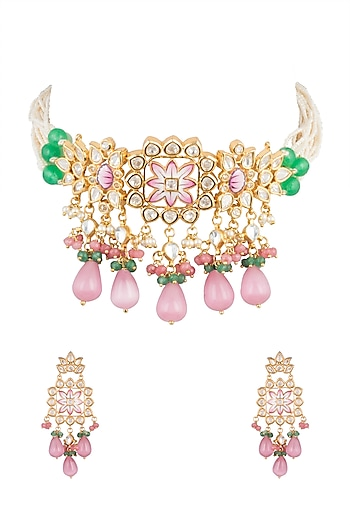 Gold Plated Meenakari Necklace Set by Moh-Maya by Disha Khatri