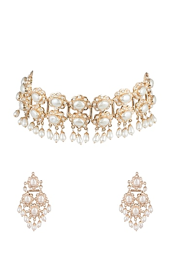 Gold Plated Pearl Necklace Set by Moh-Maya by Disha Khatri