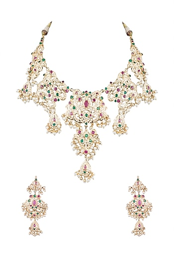 Gold Plated Jadau Necklace Set by Moh-Maya by Disha Khatri