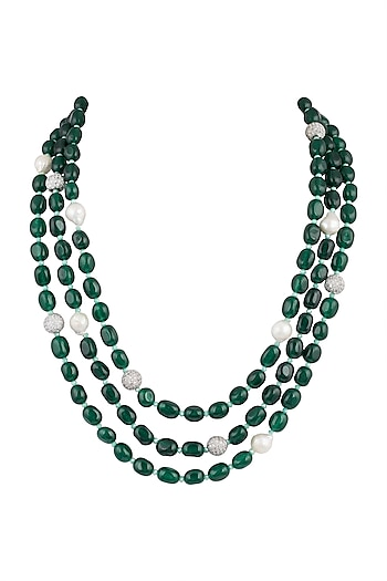 Gold Plated Emerald & Bead Layered Necklace by Moh-Maya by Disha Khatri