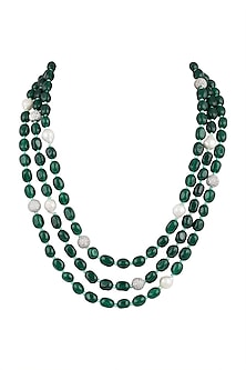 Gold Plated Emerald & Bead Layered Necklace by Moh-Maya by Disha Khatri