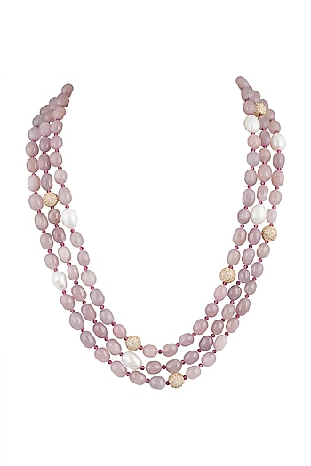Gold Plated Rose Quartz Layered Necklace by Moh-Maya by Disha Khatri