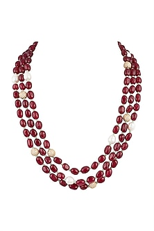Gold Plated Ruby Layered Necklace by Moh-Maya by Disha Khatri