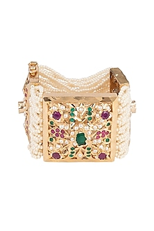 Gold Plated Pearl Bracelet by Moh-Maya by Disha Khatri