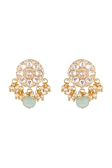 Gold Plated Kundan Earrings by Moh-Maya by Disha Khatri