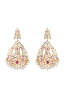 Gold Plated Ruby Chandbali Earrings by Moh-Maya by Disha Khatri