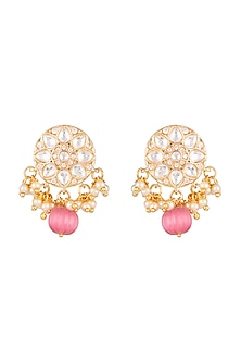 Gold Plated Kundan Stud Earrings by Moh-Maya by Disha Khatri