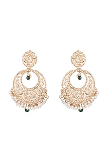 Gold Plated Beaded Chandbali Earrings by Moh-Maya by Disha Khatri