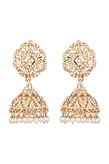 Gold Plated Jhumka Earrings by Moh-Maya by Disha Khatri