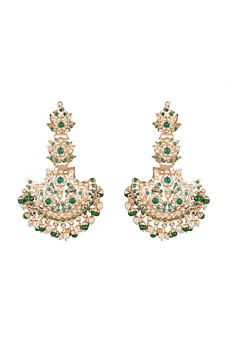 Gold Plated Emerald Long Earrings by Moh-Maya by Disha Khatri