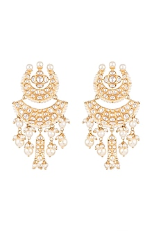Gold Plated Chandbali Earrings by Moh-Maya by Disha Khatri