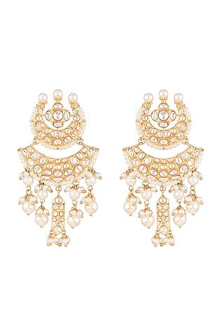 Gold Plated Chandbali Earrings by Moh-Maya by Disha Khatri