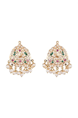 Gold Plated Small Earrings by Moh-Maya by Disha Khatri
