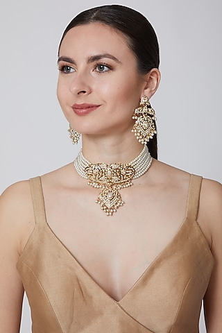 Gold Finish Pearl Choker Necklace Set by Moh-Maya By Disha Khatri