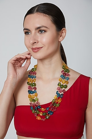 Multi Colored Beaded Necklace by Moh-Maya By Disha Khatri