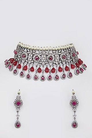 Gold Finish Diamond Ruby Necklace Set by Moh-Maya By Disha Khatri