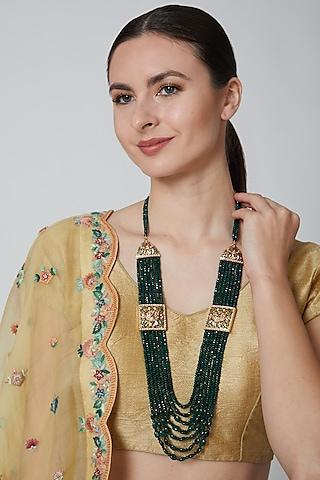 Gold Finish Emeralds Necklace by Moh-Maya By Disha Khatri