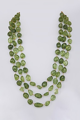 Green Glass Beaded Necklace by Moh-Maya By Disha Khatri