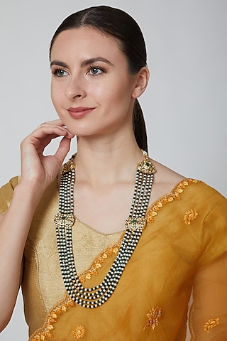 Gold Finish Green Beads Necklace by Moh-Maya By Disha Khatri
