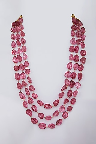 Pink Glass Beads Necklace by Moh-Maya By Disha Khatri