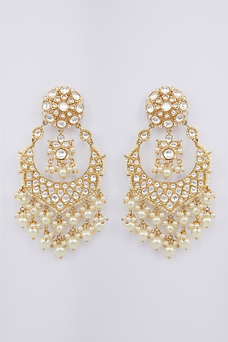 Gold Finish Pearls & Kundan Earrings by Moh-Maya By Disha Khatri