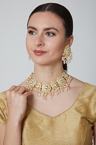 Gold Finish Kundan Necklace Set by Moh-Maya By Disha Khatri