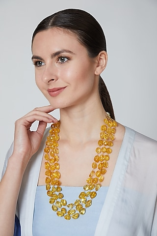 Yellow Glass Beaded Necklace by Moh-Maya By Disha Khatri