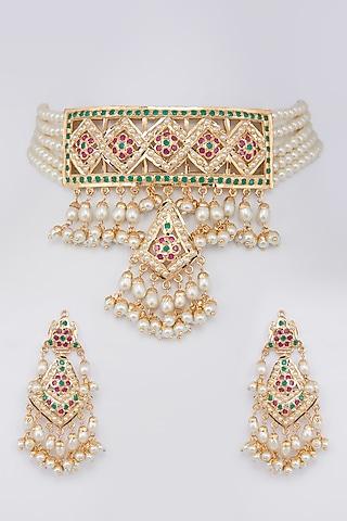 Gold Finish Jadau Necklace Set by Moh-Maya By Disha Khatri