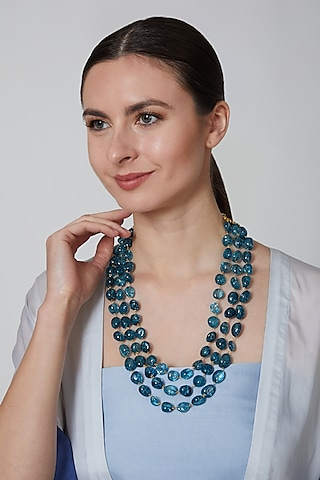 Teal Blue Glass Beaded Necklace by Moh-Maya By Disha Khatri