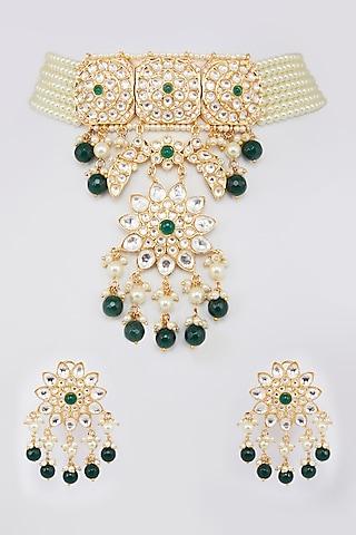 Gold Finish Emeralds Necklace Set by Moh-Maya By Disha Khatri