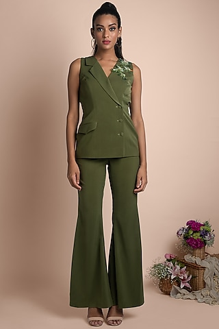 Moss Green Embellished Blazer With Pants by Mehak Murpana
