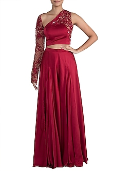 Red Embroidered One Shoulder Crop Top With Pants by Mehak Murpana