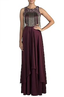 Wine Embellished Gown by Mehak Murpana