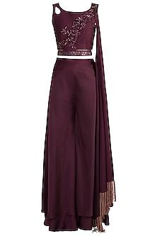 Wine Embroidered Crop Top With Pants & Belt by Mehak Murpana
