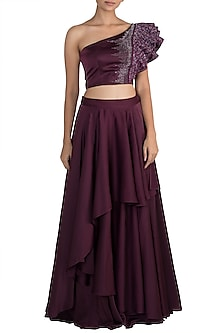 Wine Embellished Crop Top With Layered Skirt by Mehak Murpana