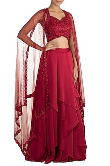 Red Embellished Lehenga Set by Mehak Murpana