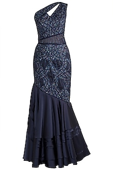 Navy Blue Embellished Fish Cut Gown by Mehak Murpana