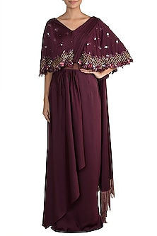 Wine Embellished Pre-Draped Saree Gown by Mehak Murpana