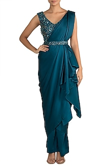 Cobalt Blue Embellished Pant Saree Set by Mehak Murpana