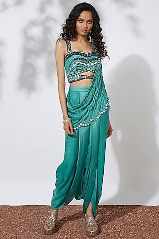Aqua Green Embroidered Dhoti Saree Set by Mehak Murpana