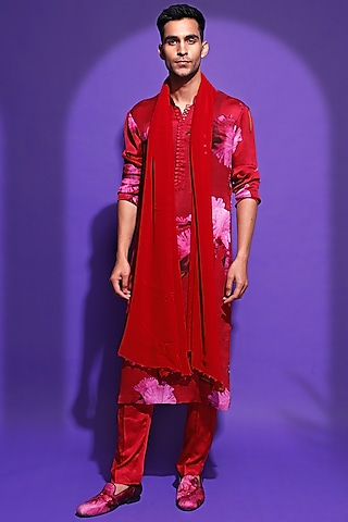 Hot Pink Printed Kurta Set by Mahima Mahajan Men