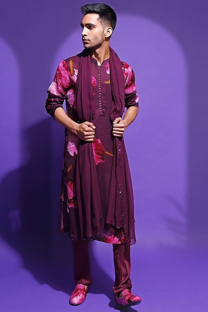 Purple Printed Kurta Set by Mahima Mahajan Men