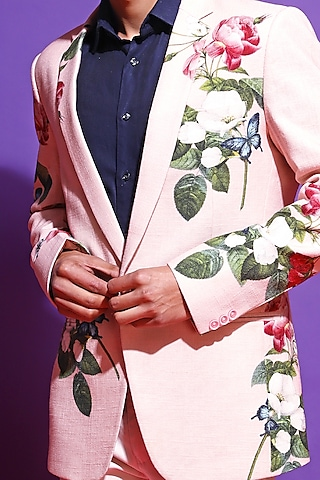 Blush Pink Printed Blazer by Mahima Mahajan Men
