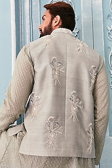Jade Green Embellished Bundi Jacket With Kurta Set by Mahima Mahajan Men