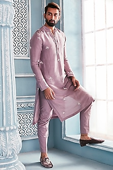 Lilac Embellished Kurta Set by Mahima Mahajan Men