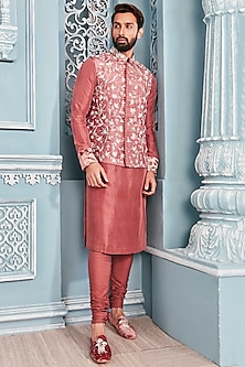 Coral Embellished Bundi Jacket With Kurta Set by Mahima Mahajan Men