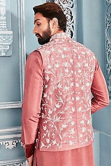 Coral Embellished Bundi Jacket With Kurta Set by Mahima Mahajan Men