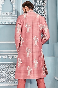 Coral Embellished Sherwani Set by Mahima Mahajan Men