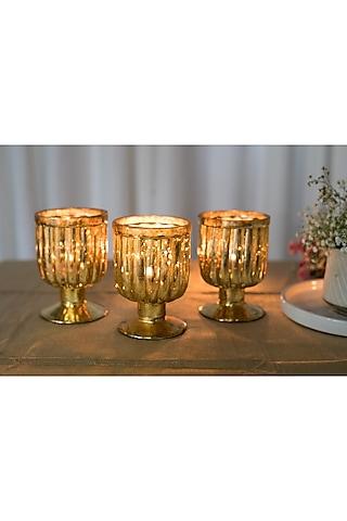 Golden Goblet Candle Holder (Set Of 3) by Chrysante By Gunjan Gupta